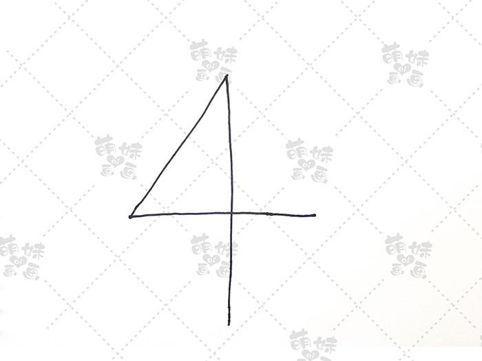 用数字4画圣诞树简笔画-步骤1