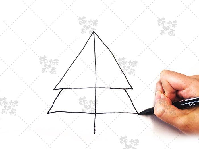 用数字4画圣诞树简笔画-步骤3