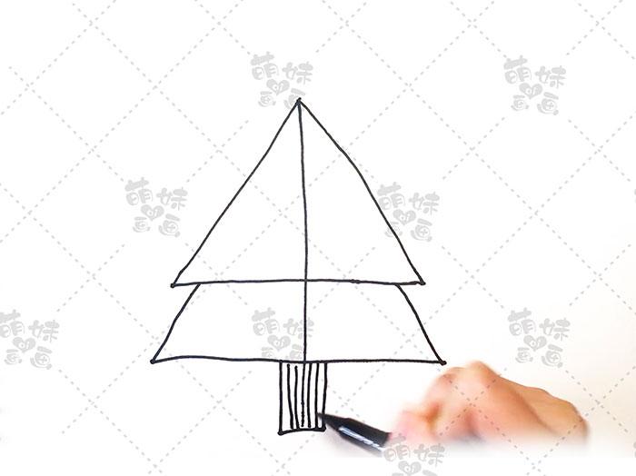 用数字4画圣诞树简笔画-步骤4