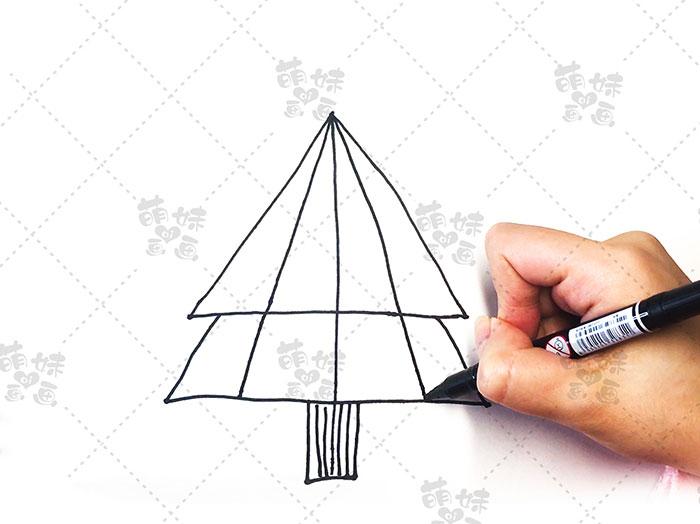 用数字4画圣诞树简笔画-步骤5