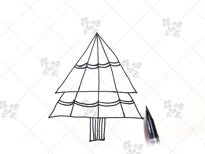 用数字4画圣诞树简笔画-步骤6