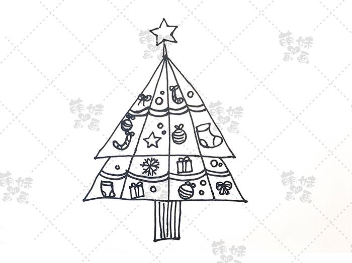 用数字4画圣诞树简笔画-步骤7
