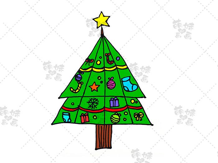 用数字4画圣诞树简笔画-步骤8