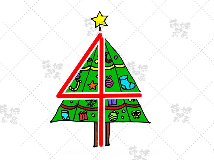 用数字4画圣诞树简笔画-步骤9
