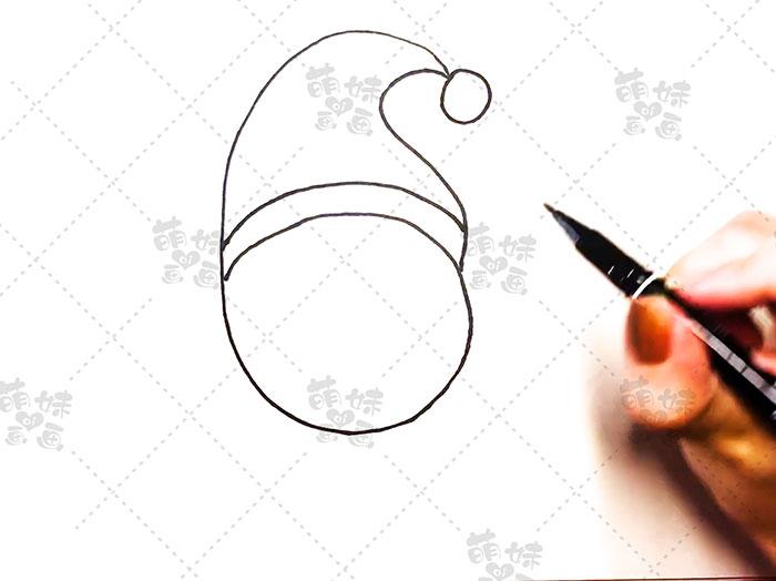 用数字5画圣诞老人简笔画-步骤3
