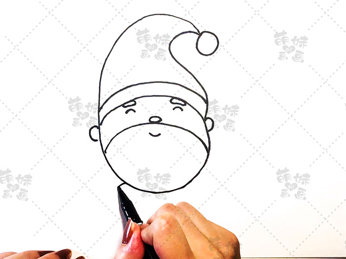 用数字5画圣诞老人简笔画-步骤4