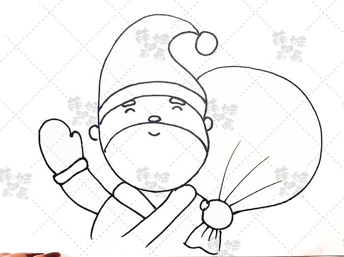 用数字5画圣诞老人简笔画-步骤6