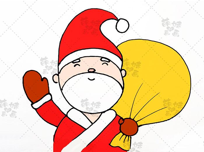 用数字5画圣诞老人简笔画-步骤7