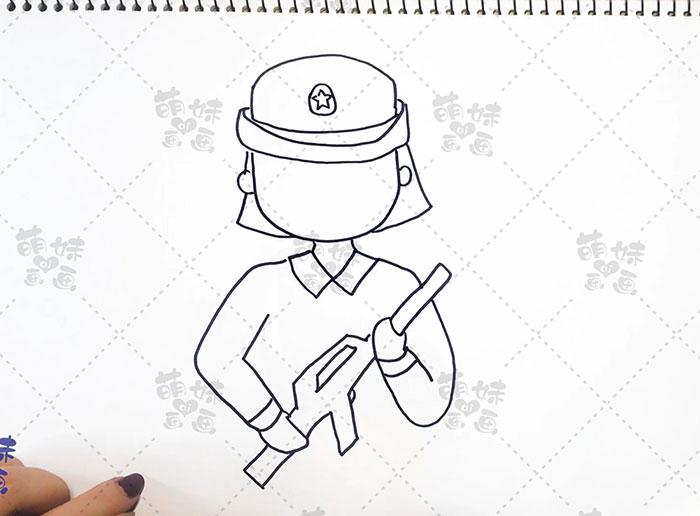 国庆卡通人物-女兵步骤2