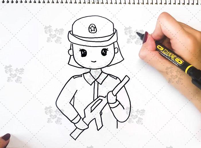 国庆卡通人物-女兵步骤3