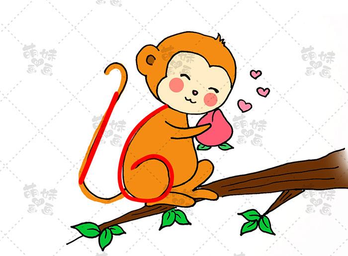 用数字16画猴子-步骤6