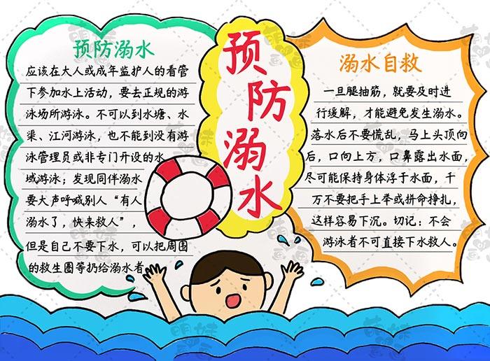 防溺水手抄报步骤5